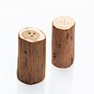 Salt and pepper shaker set made from juniper wood.
