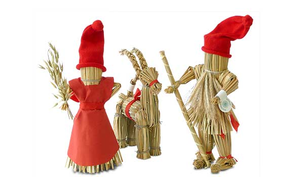 Traditional Scandinavian Christmas decorations.