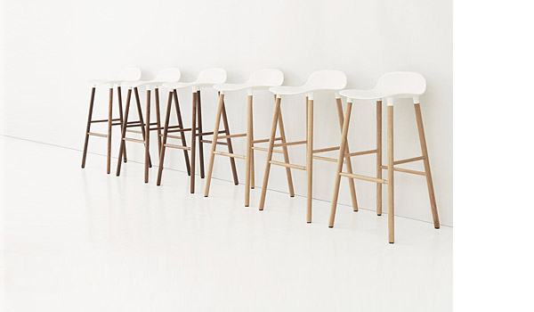 Form, bar stool with wood legs, by Simon Legald / Normann Copenhagen