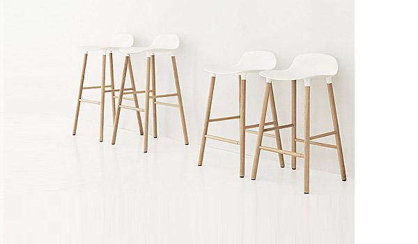 Form Bar Stool With Wood Legs By Simon Legald Normann