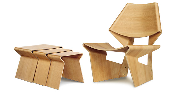 ... GJ Chair And Nesting Table, Here The Oregon Pine Version, By Grete Jalk  ...