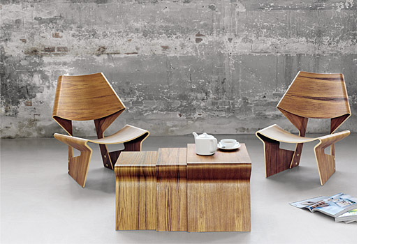 ... GJ Chair And Nesting Table, Here The Teak Version, By Grete Jalk /  Lange ...