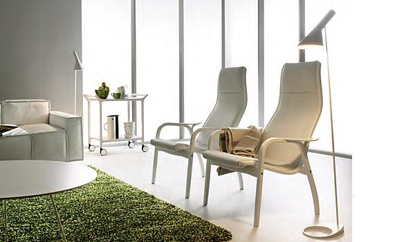 Lamino, lounge chair and stool (sheepskin) by Yngve Ekström Swedese