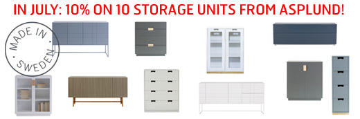 10% discount on 10 Asplund storage units in July.