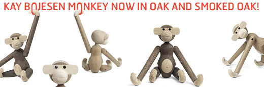 The famous monkey, designed by Kay Bojesen 1951, now also available in a oak/maple version and a smoked oak/oak version.